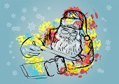 stock photo of letters to santa claus  - santa claus and letter on background with snowflake - JPG