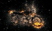 pic of fiery  - Fiery burning motorbike conceptual image with flames erupting from the wheels and frame depicting extreme sport - JPG