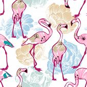picture of flamingo  - Exotic seamless pattern - JPG