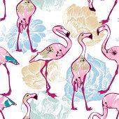 foto of flamingo  - Exotic seamless pattern - JPG