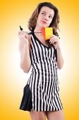 picture of referee  - Woman referee with card on white - JPG