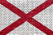 picture of alabama  - flag of Alabama painted on brick wall - JPG