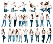 stock photo of young boy  - photo collage of young boys and girls in t - JPG