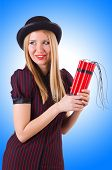 pic of gangster  - Woman gangster with dynamite sticks on white - JPG