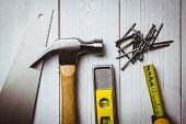 foto of studio shots  - DIY tools laid out on table shot in studio - JPG