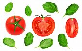 stock photo of basil leaves  - Fresh red tomatoes and basil leaves on isolated white backround - JPG