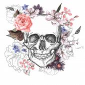 pic of day dead skull  - Skull and Flowers Day of The Dead - JPG