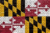 stock photo of maryland  - flag of Maryland painted on brick wall - JPG