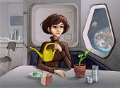 pic of take responsibility  - Young Woman sitting near a Spacecraft Porthole and caring for the Plant - JPG