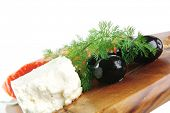image of redfish  - smoked salmon chunk with olives and white cheese - JPG