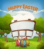 stock photo of announcement  - Illustration of a cartoon happy easter holidays background in spring or summer landscape season with chocolate eggs gifts and announcement wood sign for wishes - JPG