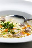 image of kohlrabi  - Scottish soup of mutton meat with kohlrabi and barley - JPG