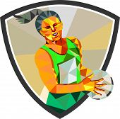stock photo of netball  - Low polygon style illustration of a netball player holding ball viewed from front set inside shield crest on isolated white background - JPG