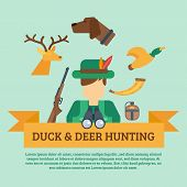 image of duck-hunting  - Duck and deer hunting concept with hunter equipment and animals icons flat vector illustration - JPG