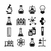 stock photo of atom  - Chemistry scientific research icons collection with molecule atom structure symbol and test tubes black abstract vector illustration - JPG