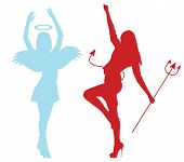 pic of demons  - Silhouettes of an angel and demon froze in dance - JPG