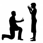 foto of proposal  - Illustration of a man bending down on one knee and proposing - JPG