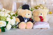 pic of banquet  - Romantic wedding in the banquet hall with teddy bears on the table - JPG