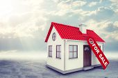 stock photo of gable-roof  - White house with label for sale - JPG