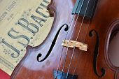 stock photo of violin  - German ancient violin and notes - JPG