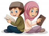 picture of muslim  - Two muslims reading books together - JPG