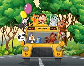 picture of zoo  - Different animals riding on a zoo bus - JPG