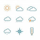 picture of snow clouds  - Weather simple vector icon set  - JPG