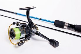 picture of rod  - Fishing rod with fishing reel isolated on white - JPG