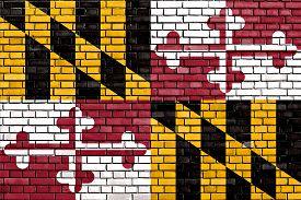 image of maryland  - flag of Maryland painted on brick wall - JPG