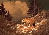 picture of grizzly bear  - image from an original 17x24 painting of grizzly bear in a rocky mountain stream - JPG