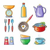 picture of food preparation tools equipment  - Set of kitchen utensil and collection of cookware icons - JPG