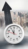 stock photo of midnight  - countdown to midnight on clock against road turning into arrow - JPG