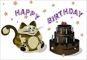 image of pot-bellied  - the fat brown cat with green eyes sits and looks at a jchocolate pie - JPG