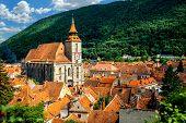 picture of backround  - Brasov cityscape with black cathedral and mountain on backround in Romania - JPG