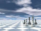 foto of surreal  - Surreal abstract blue background with chess pieces chessboard and blue sky with clouds - JPG