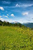 foto of plateau  - Green grassy plateau in the Berchtesgaden Alps in Bavaria - JPG
