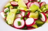 pic of radish  - Salad from different kinds of radishes and green onions - JPG