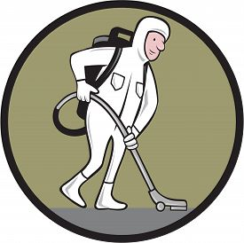picture of bio-hazard  - Cartoon style illustration of an industrial cleaner wearing cleanroom suit or bio - JPG