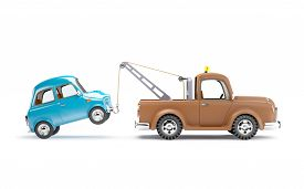stock photo of towing  - old cartoon tow truck with car on white background side view - JPG