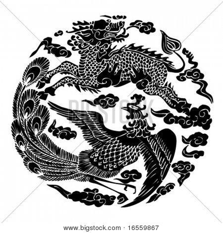 Постер, плакат: Вектор китайской традиционной художественной модели , холст на подрамнике