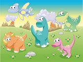 Dinosaurs Family with background. Funny cartoon and vector illustration.