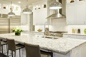 White Kitchen Design In New Luxurious Home poster