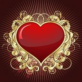 stock photo of valentine heart  - Vintage gold heart - JPG