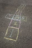 image of hopscotch  - Colorful chalk hopscotch board in the schoolyard - JPG