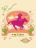 stock photo of bucking bronco  - Western Poster - JPG