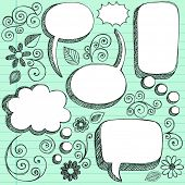 Hand-Drawn Sketchy 3D Shaped Comic Book Style Speech Bubbles- Notebook Doodles on Green Lined Paper