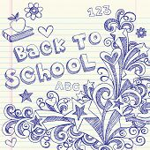 Hand-Drawn Back to School Sketchy Notebook Doodles with Lettering, Books, Shooting Stars, Hearts, an