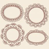 Hand-Drawn Abstract Henna Mehndi Flowers Frames Doodle Vector Illustration Design Elements