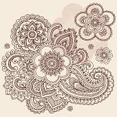 Hand-Drawn Henna Mehndi Abstract Mandala Flowers and Paisley Doodle Vector Illustration Design Eleme
