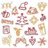 stock photo of reveillon  - Christmas sketches 3 - JPG